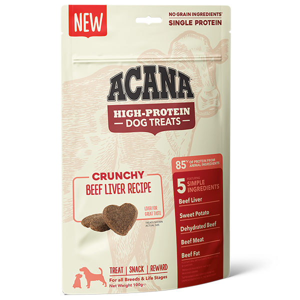 ACANA High Protein Treats Crunchy Beef Liver Recipe Front Right 100g