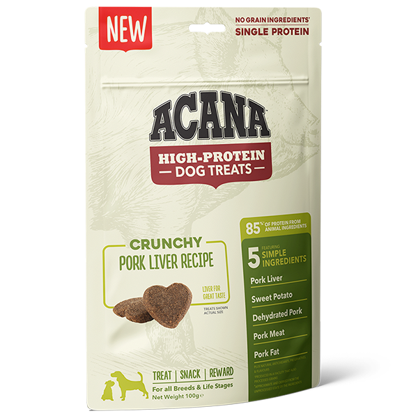 ACANA High Protein Treats Crunchy Pork Liver Recipe Front Right 100g