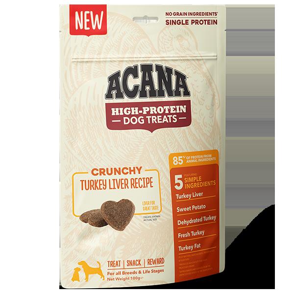 ACANA High Protein Treats Crunchy Turkey Liver Recipe Front Right 100g
